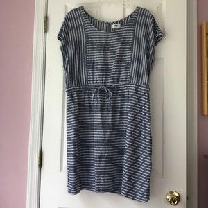Old Navy blue & white linen dress, size XL